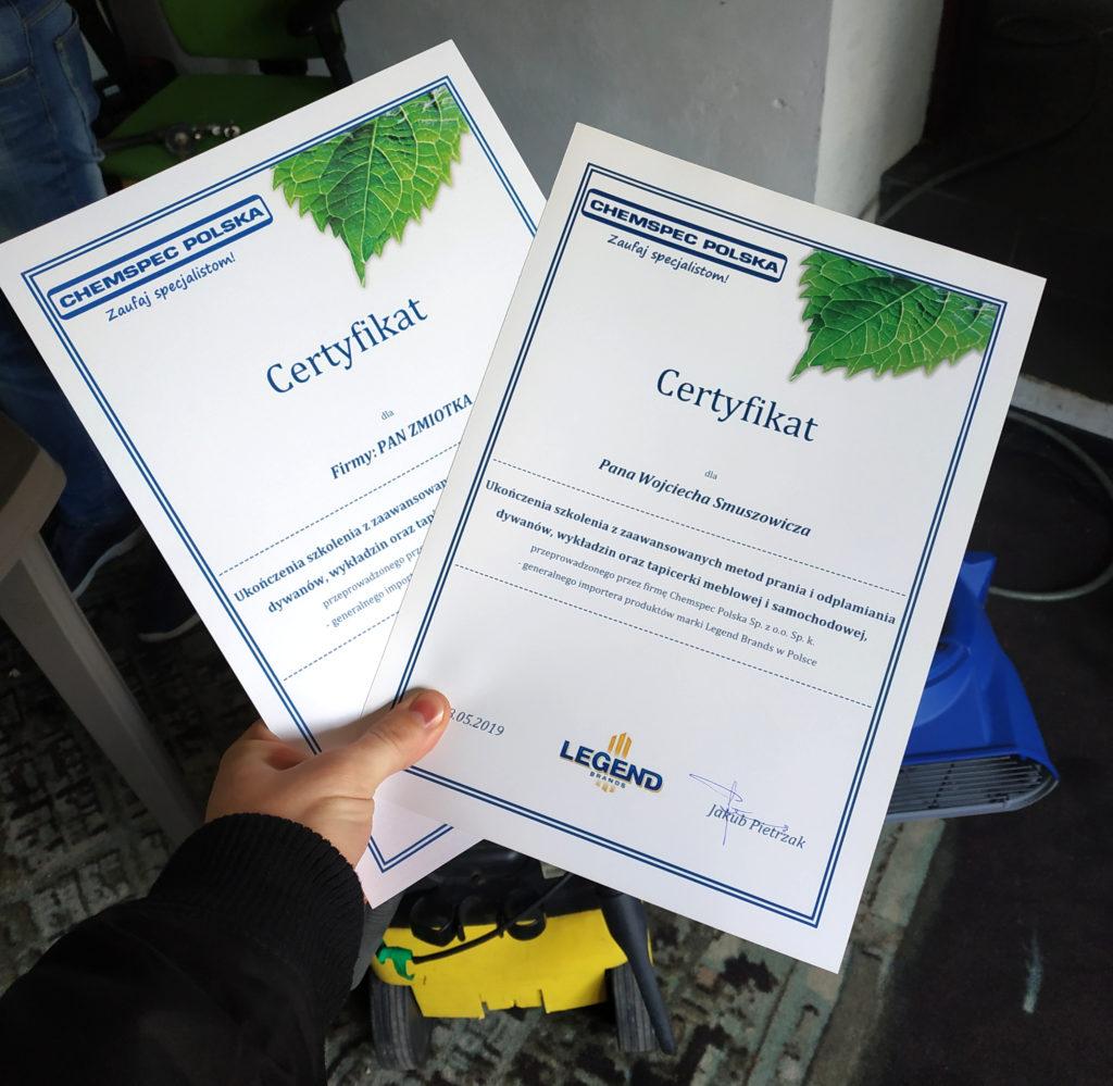 certyfikat ze szkolenia prania tapicerki